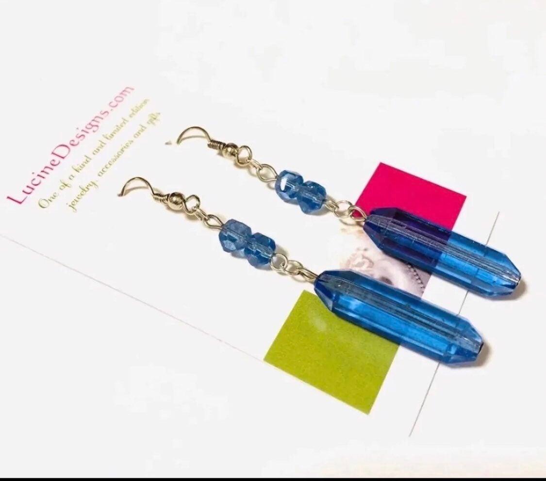 Blue long earrings boutique jewelry NEW