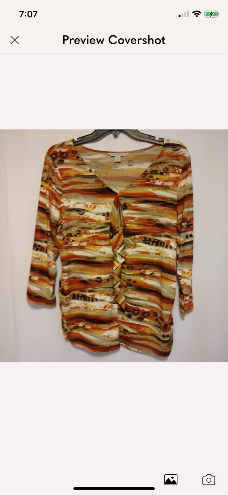 Laura Ashley front ruffle blouse size M