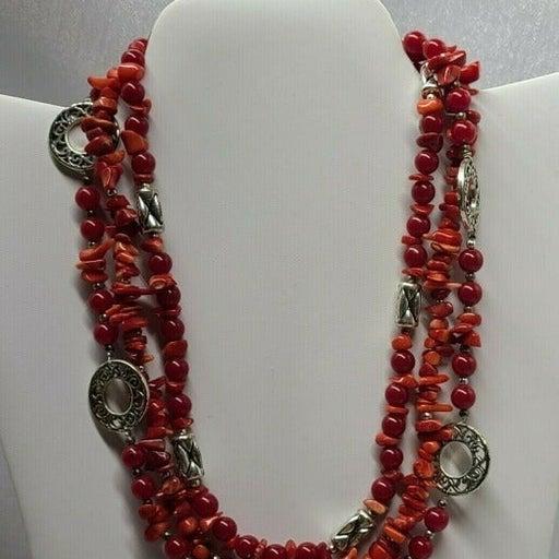 Premier Designs Firecracker Set : Coral and Silver Necklace and Bracelet