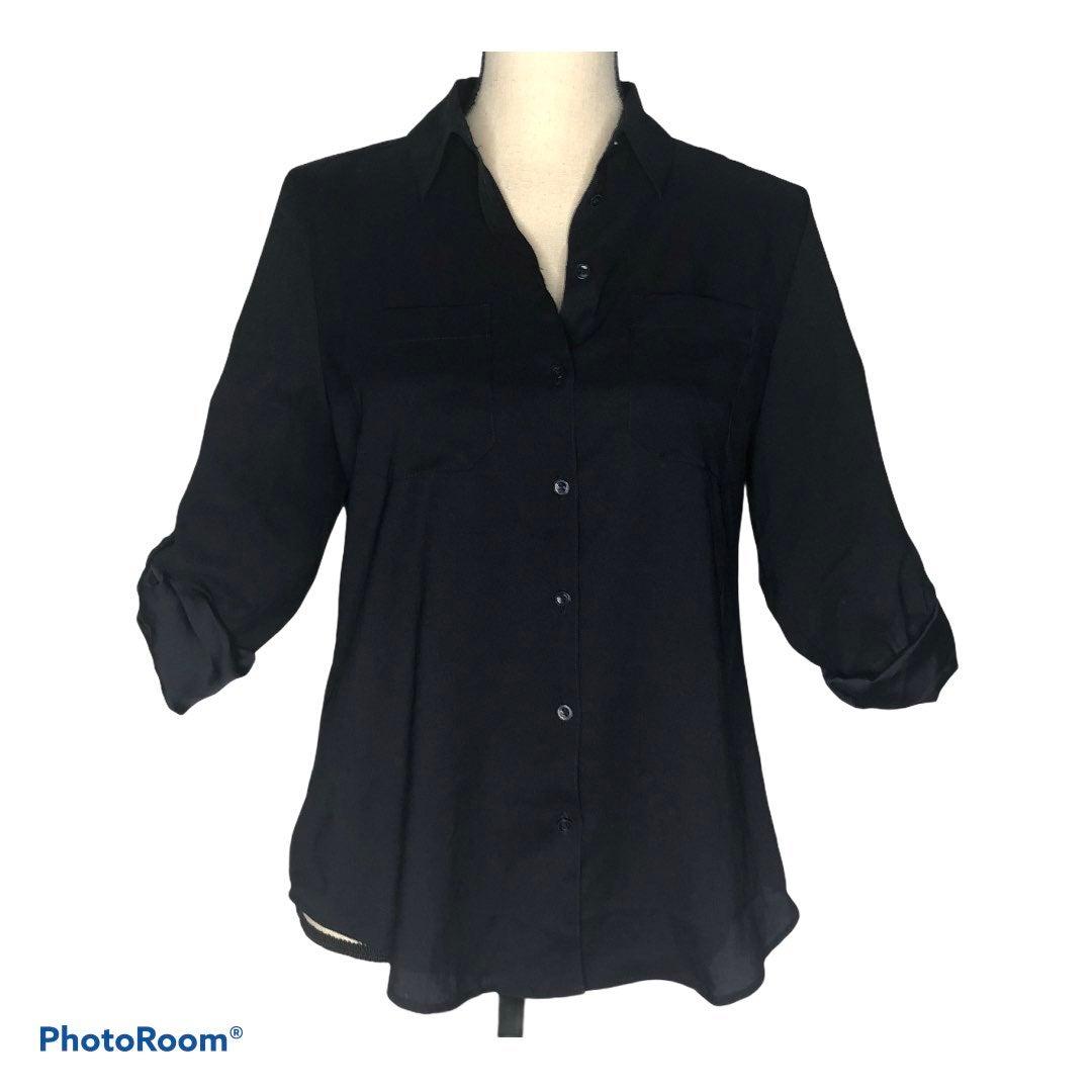 Ann Taylor black button down blouse