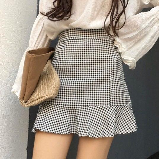 Black Plaid Gingham Mini Skirt