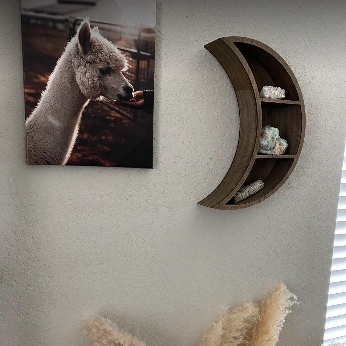 Crescent Moon-Shaped Wood Floating Shelf