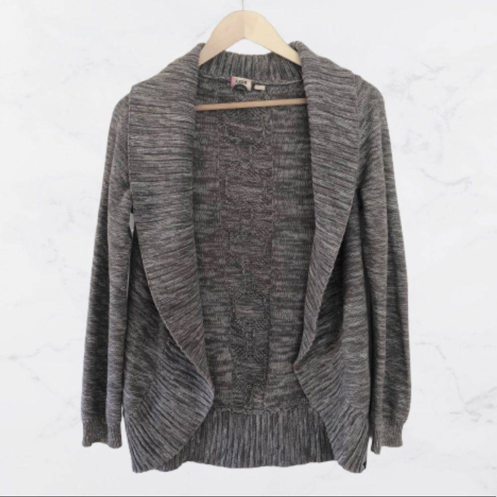 Roxy Grey Marled Open Front Cardigan-S