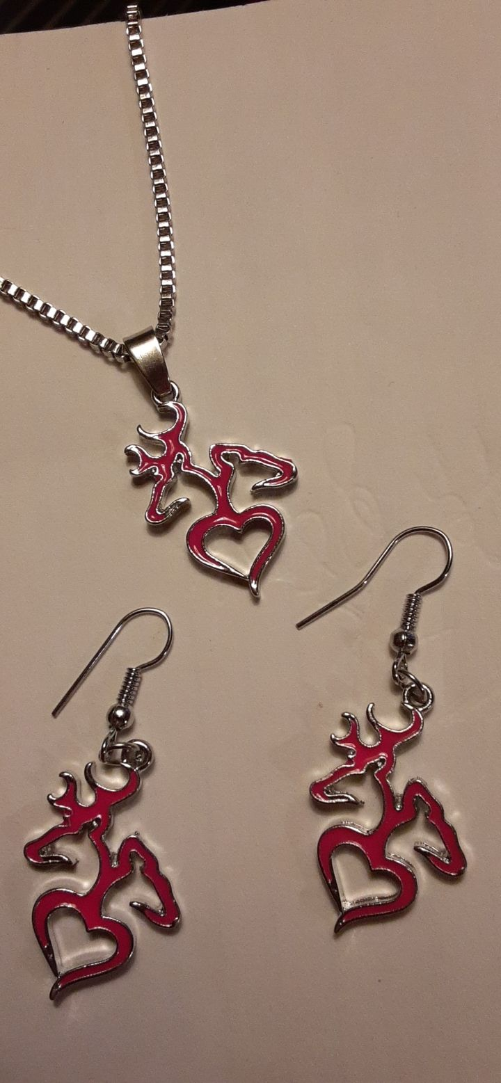 Pink Browning necklace & earring set