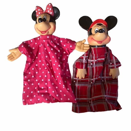 Vintage mickey and minnie hand puppets