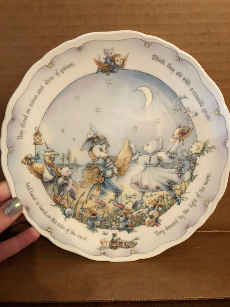 Royal Doulton Owl and Cat Plate