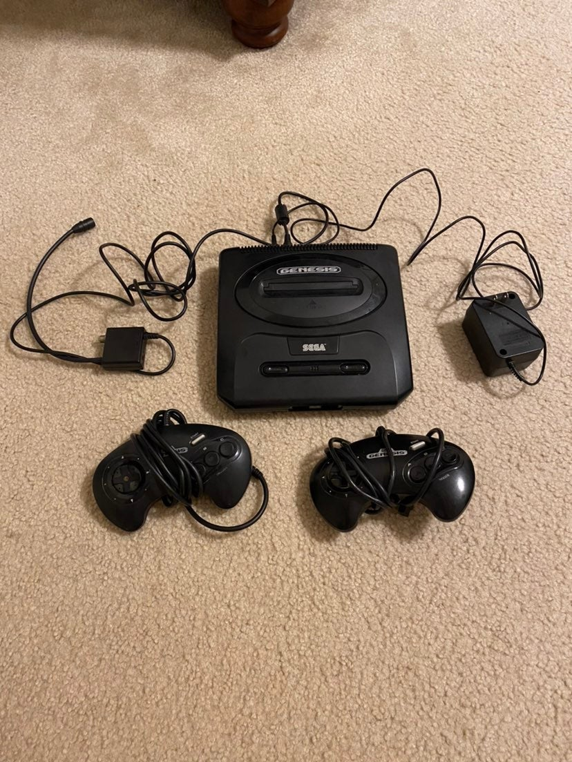 Sega Genesis Console and 2 controllers