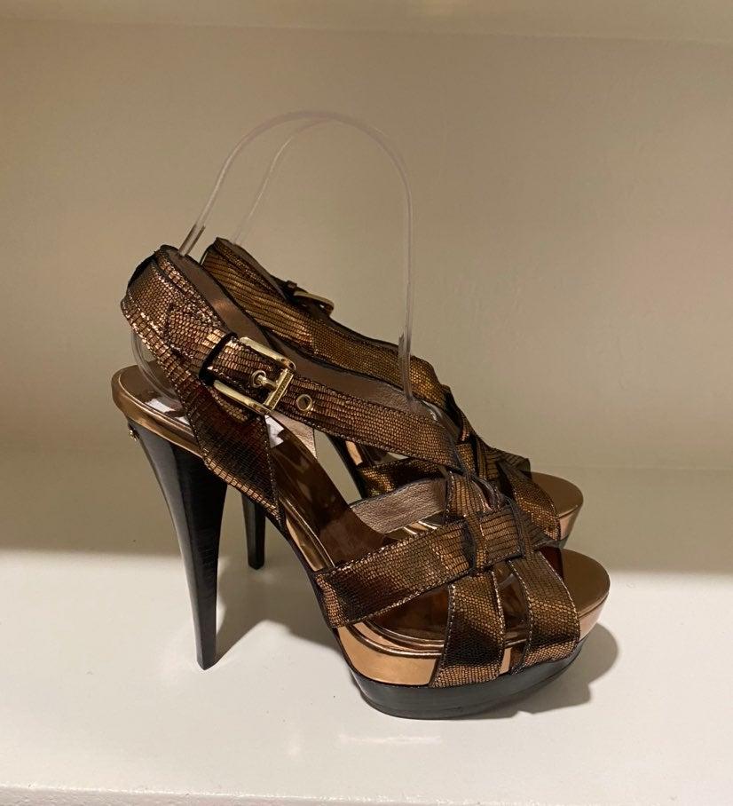 Michael Kors Bronze Snakeskin Heels 6.