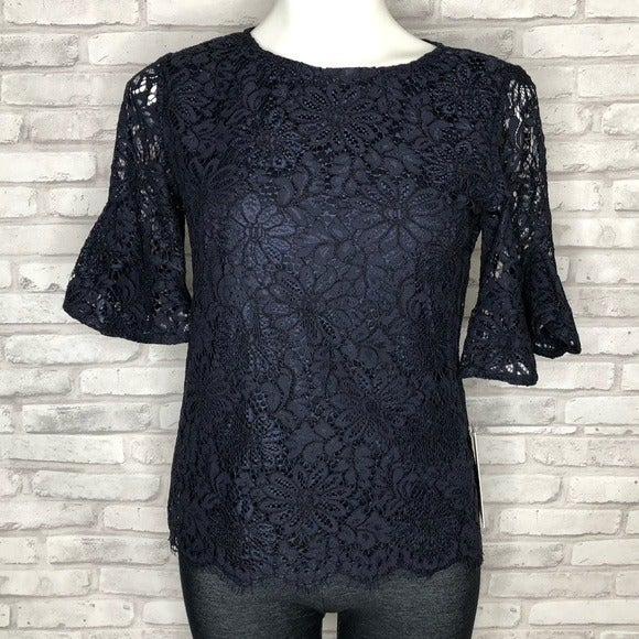 Nanette Lepore lace bell sleeve top, NWT