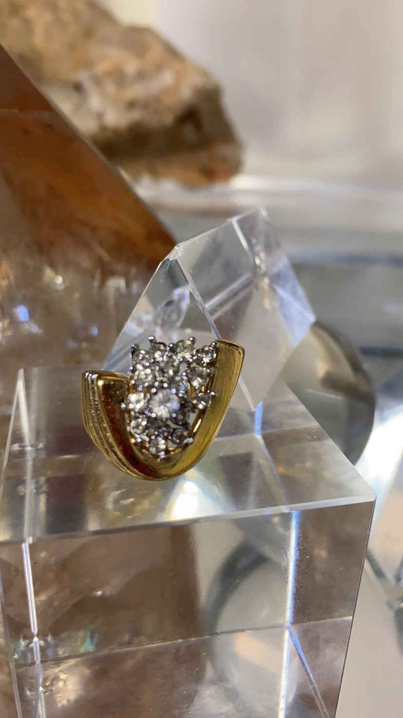 diamond cluster costume ring