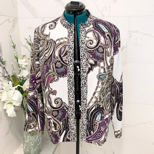 Chico's Jacket Paisley Open Front 3 NWT