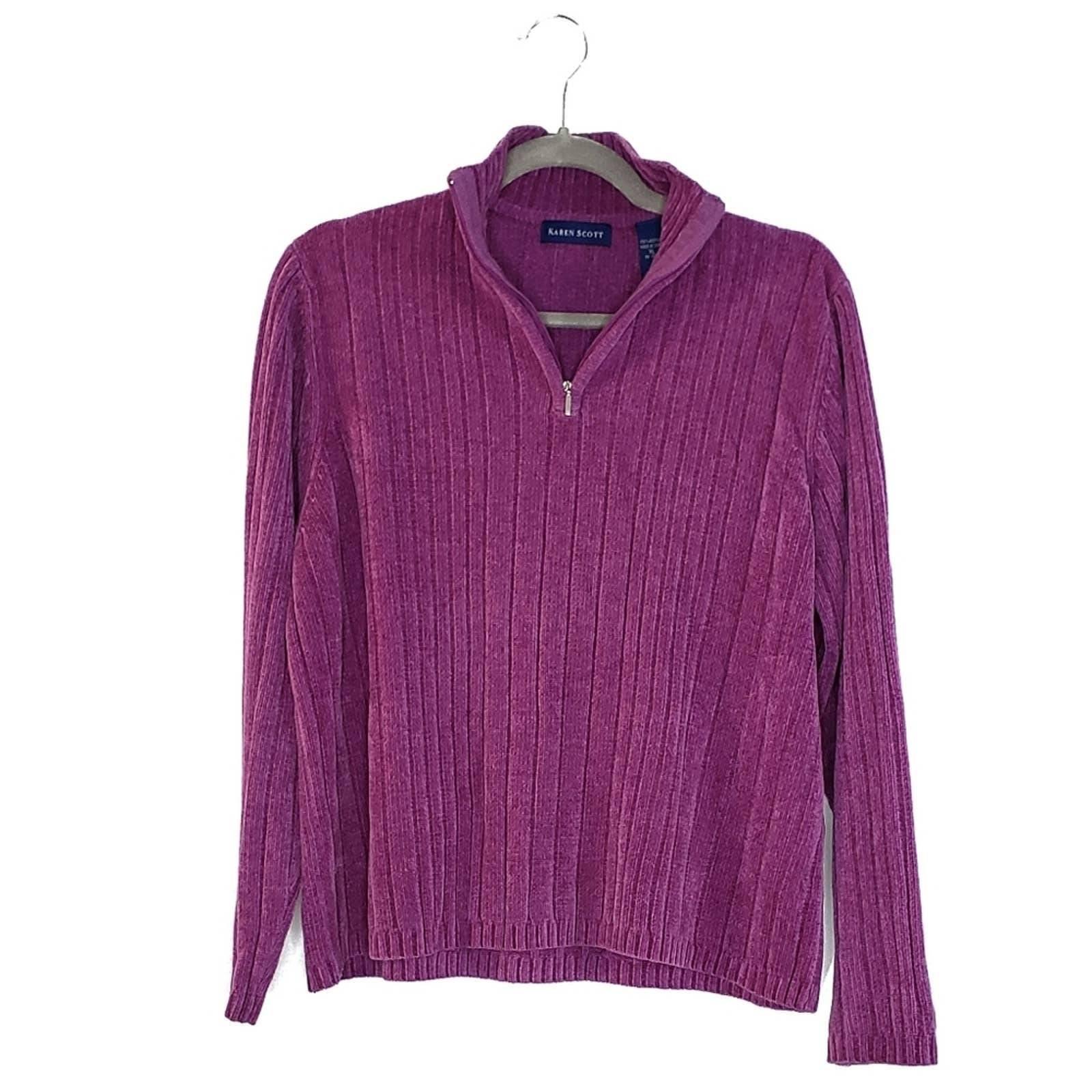 Karen Scott Purple Half Zip Sweater L