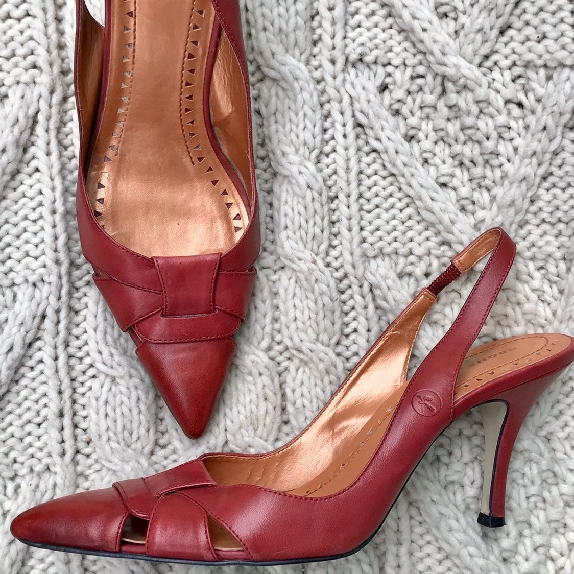 BRONX Red Leather Slingback Pumps - 39