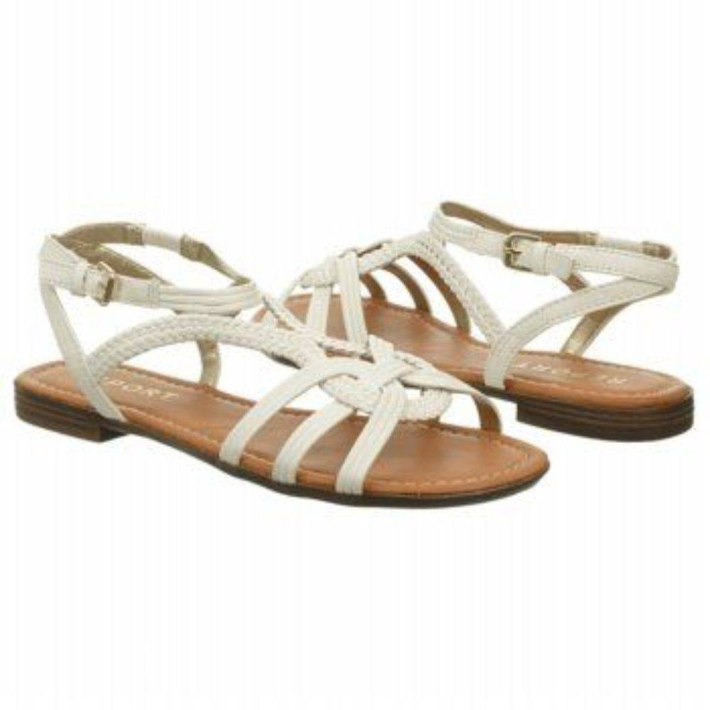 Report white flat ankle strap sandals