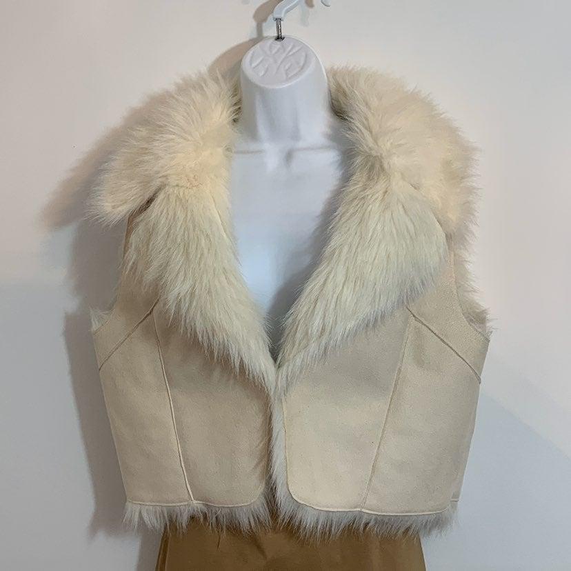 Faux Suede / Fur Vest by Cache LARGE
