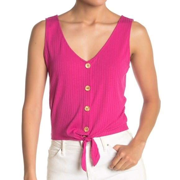 Elodie Front Button Up Ribbed Pink Tank
