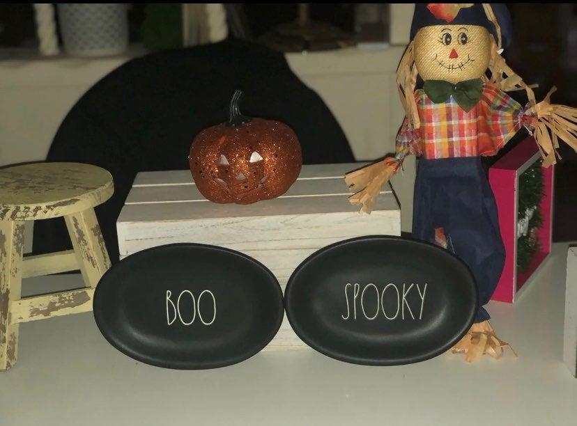 Rae Dunn spooky and Boo oval plates