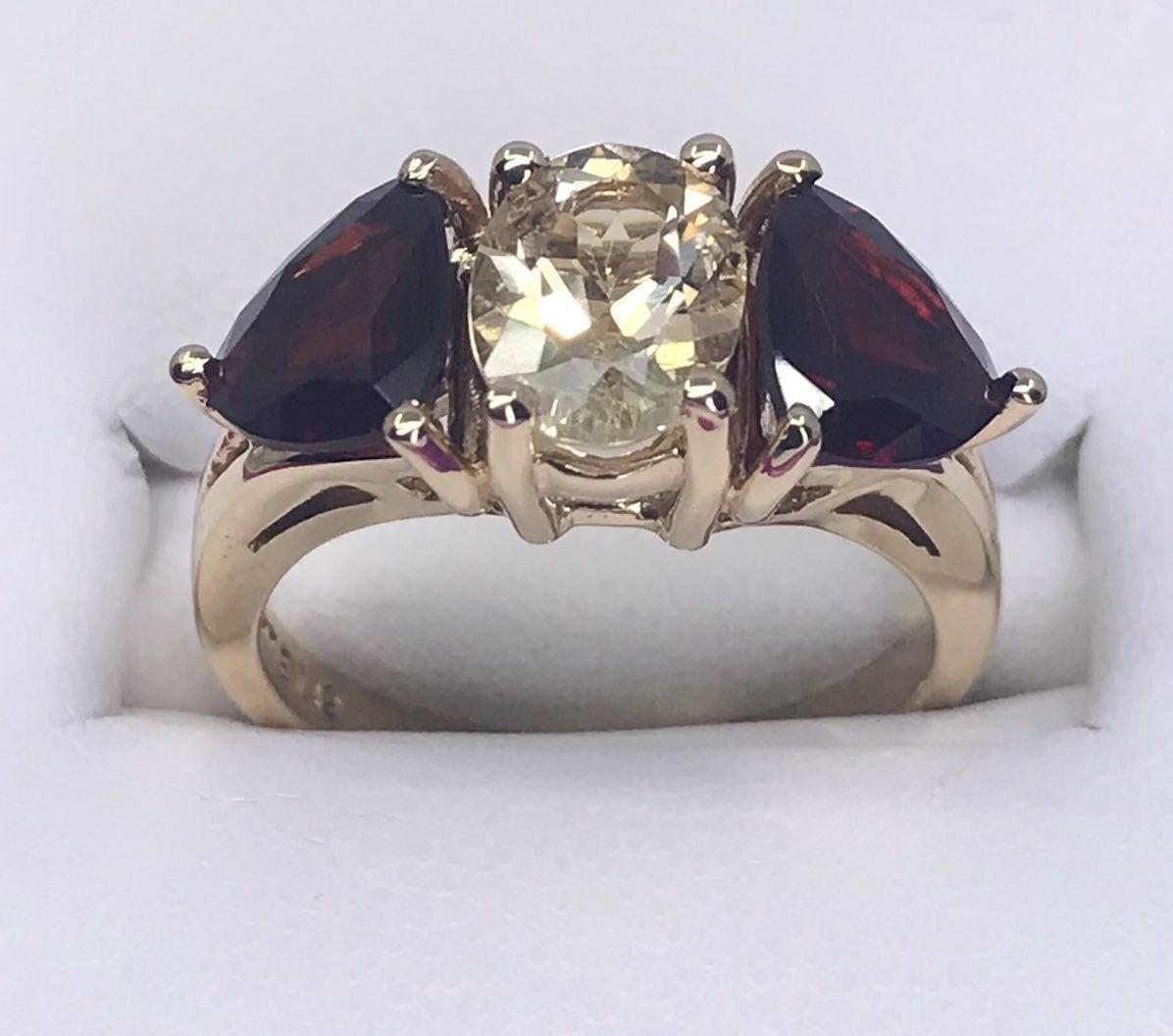10k SOLID Gold Scapolite & Garnet Ring