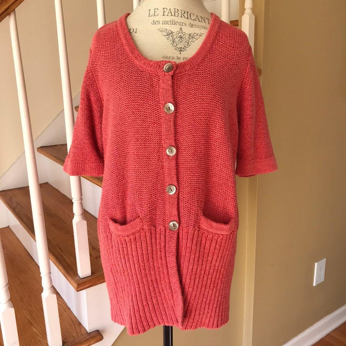 J J.Jill Peach Cotton Cardigan Sweater L