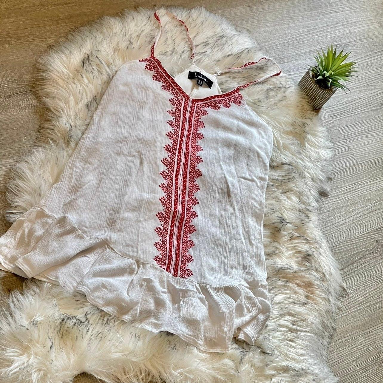 LULUS White/Red Boho Summer Dress XS