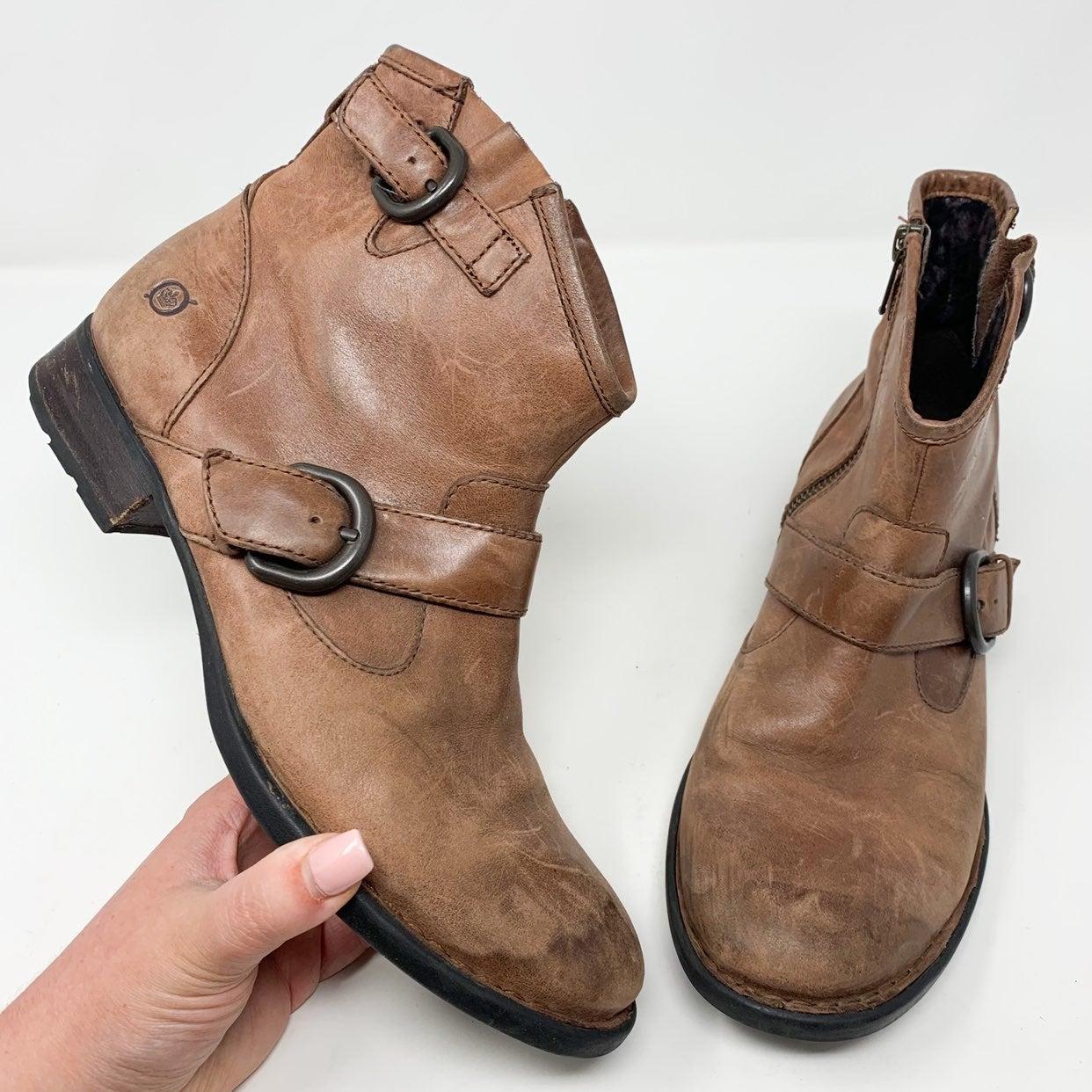 Born Tan Raisa Leather Moto Ankle Boot