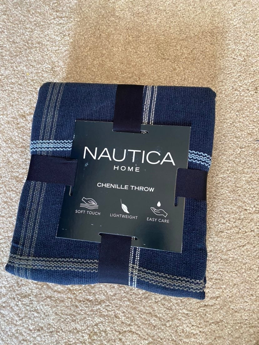 Navy Blue plaid nautica blanket throw