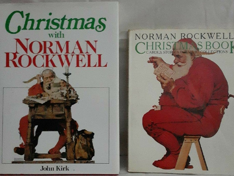 2 Norman Rockwell Christmas Books poems