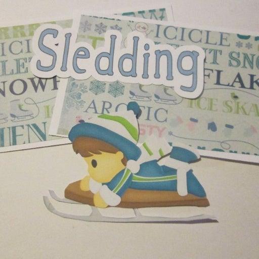 Sledding Boy - Scrapbook or Card Set
