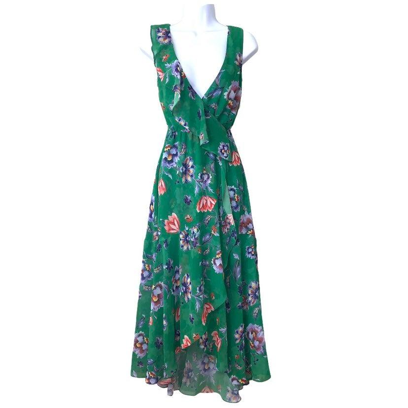 Bar III Maxi Dress Gypsy Floral Green