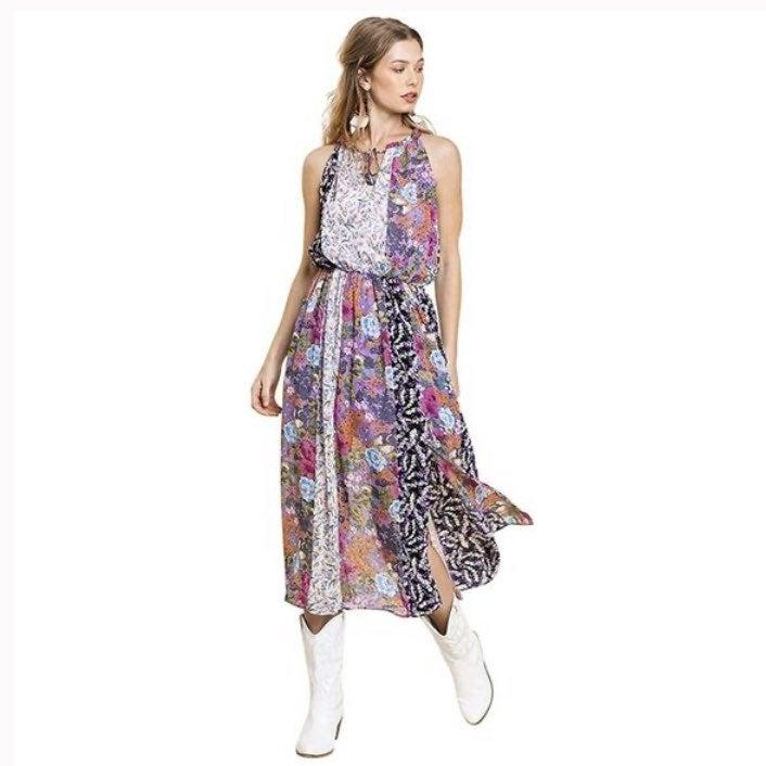 UMGEE Sleeveless Mixed Floral Print Maxi