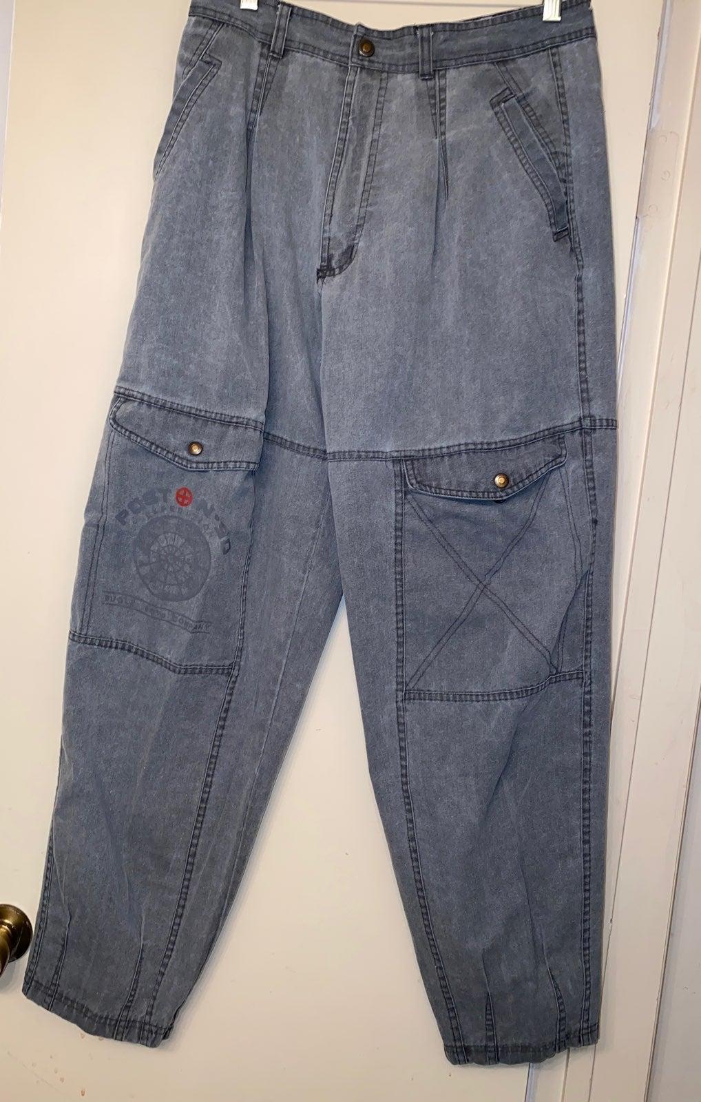 Bugle Boy Mens Grey Cargo Pants 34M