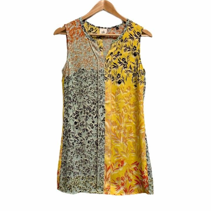 Cabi Floral Contrast Print Split Blouse