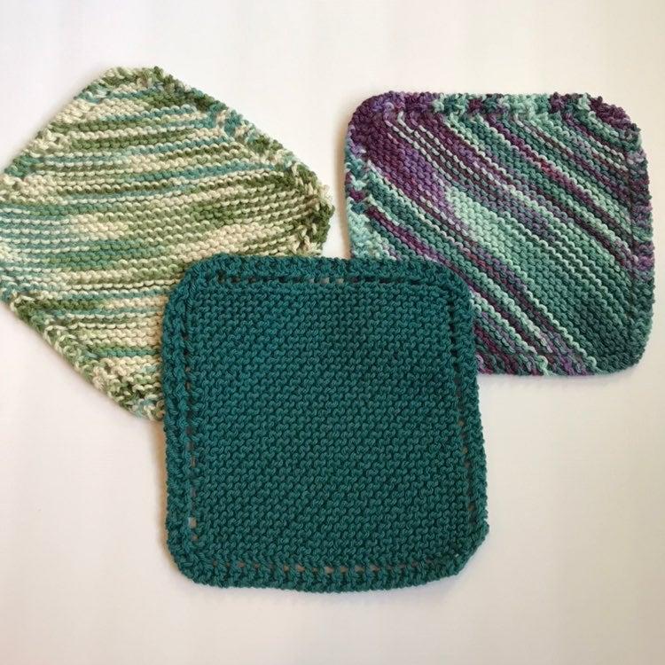 New, set of (3) Handmade Knit Washcloths