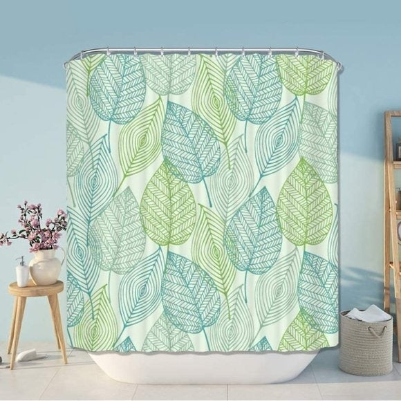 New Leaves Printed Shower Curtain