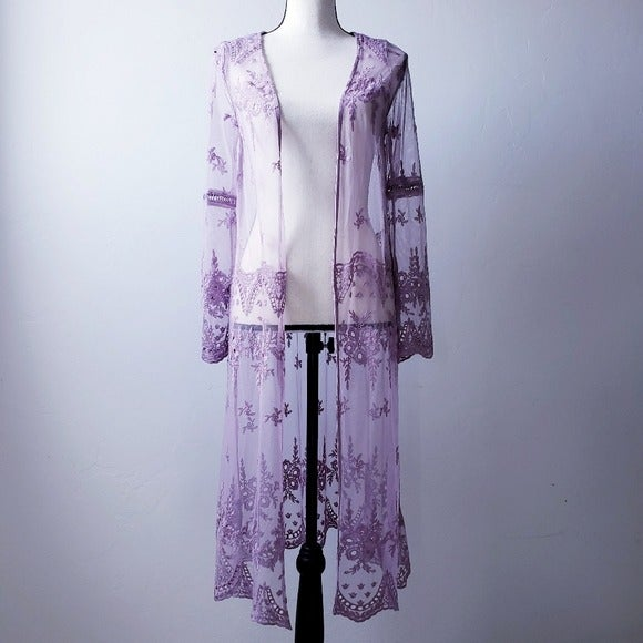 Lilac Floral Lace Duster/Kimono/Cover-up