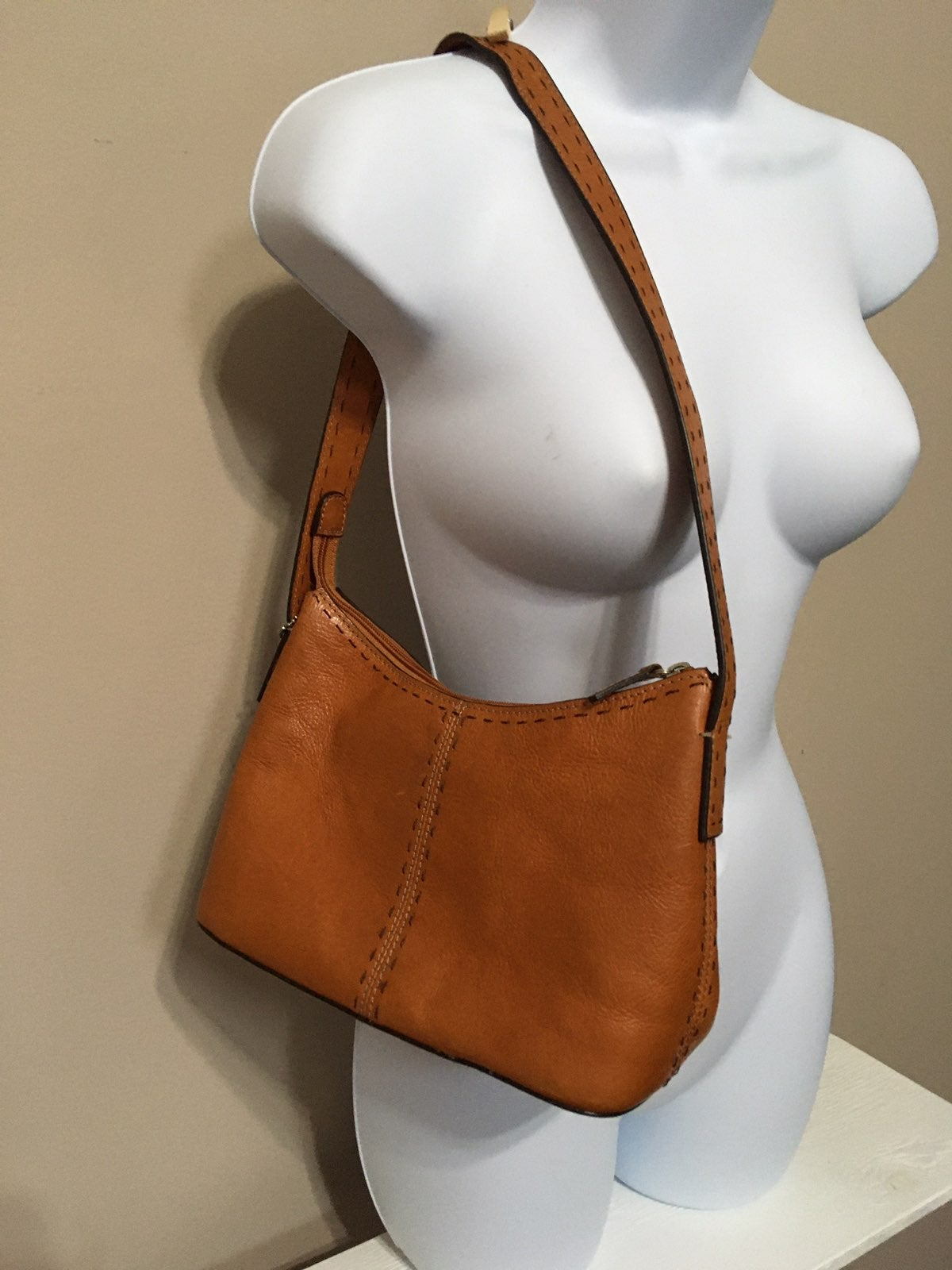 Cognac Soft Leather Shoulder Bag