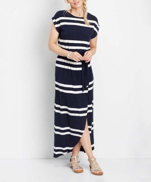 Maurices Navy White Stripe Maxi Dress