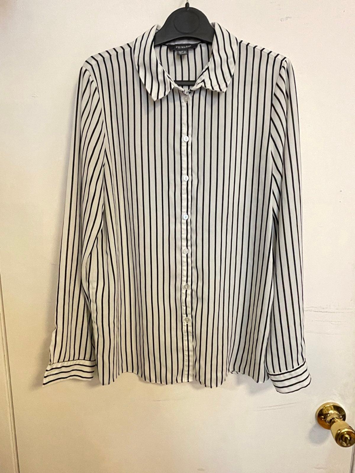 Black and white stripe button down