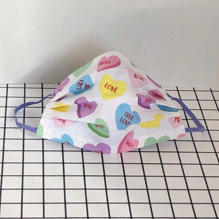 Valentine Candy Heart Print Face Masks