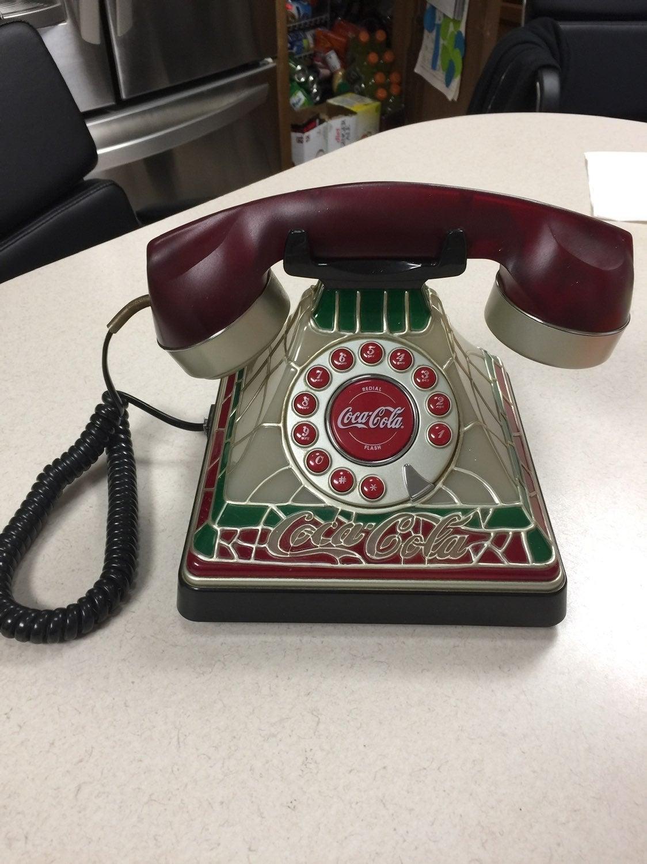 COCA COLA RETRO STAINED GLASS TELEPHONE