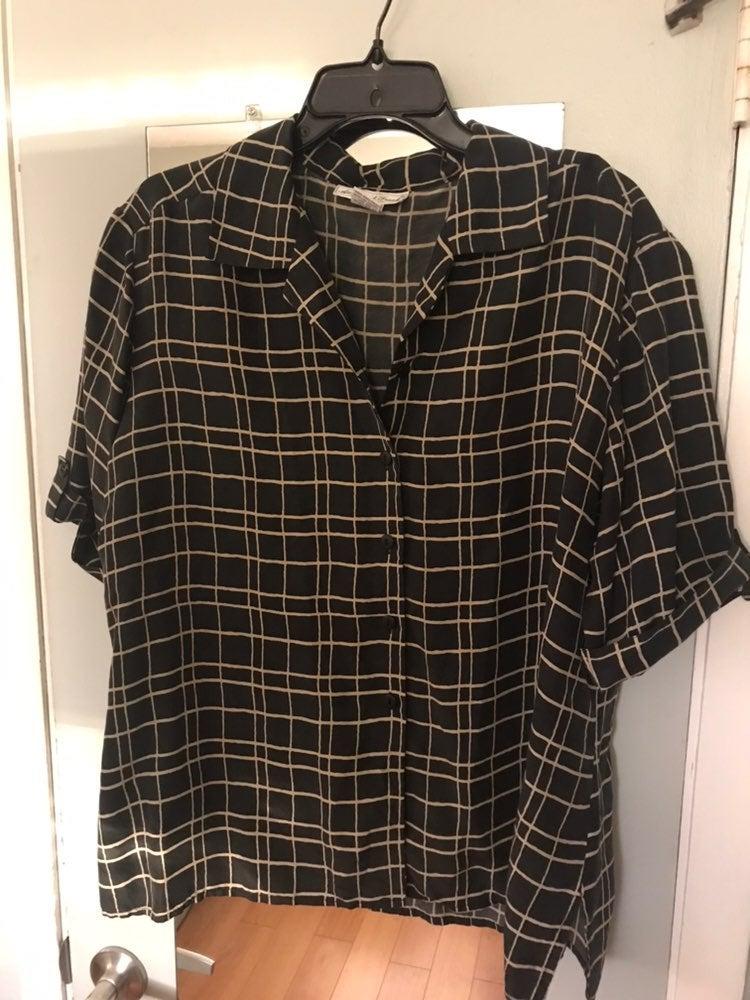 Silk Checkered Button Front Top, XL
