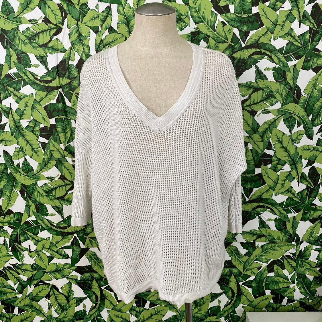 CAbi Breeze Cotton Open Knit Sweater 601