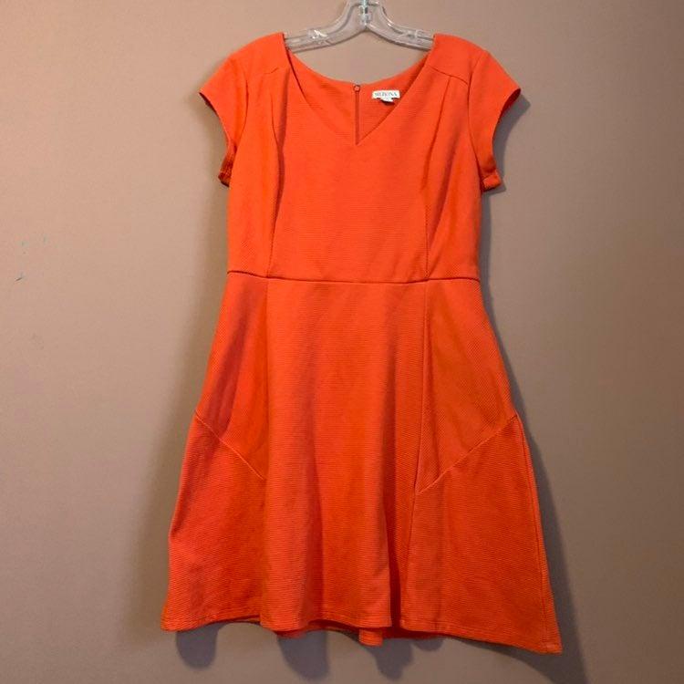 Textured Orange Skater Dress