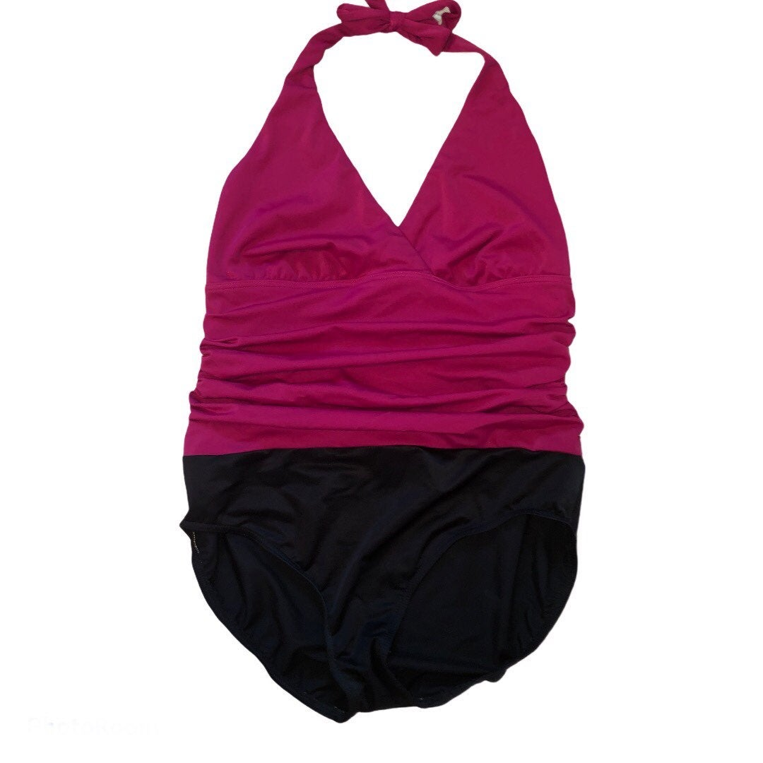 Lands'End berry & black onepiece swimsui