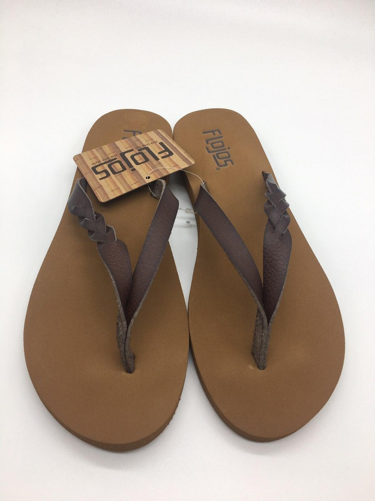 Flojos Serenity Flip Flops Brown Sz 6