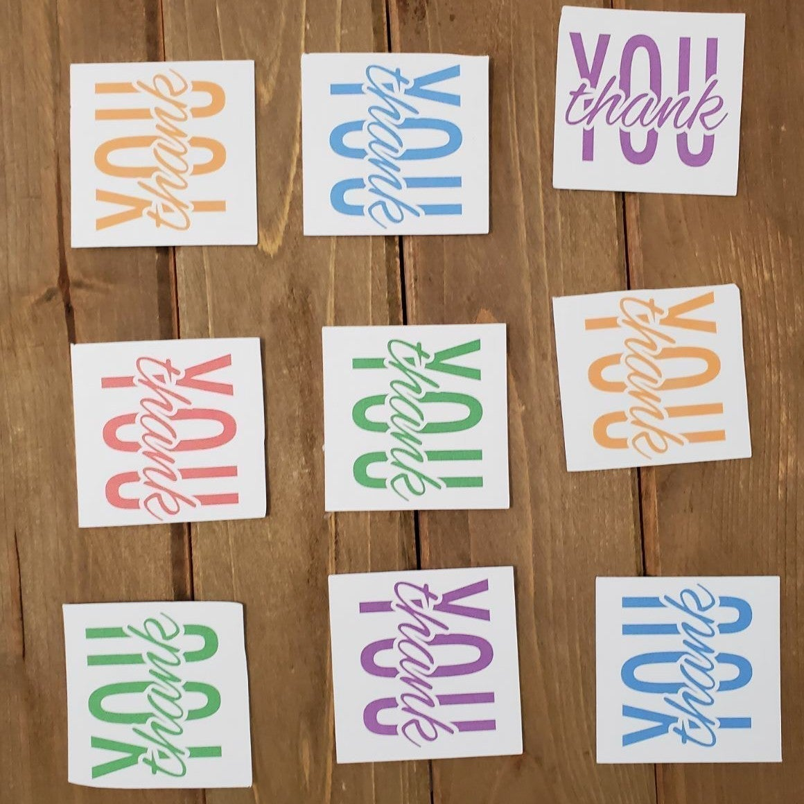 Thank You Cards Square Card Rainbow Tag