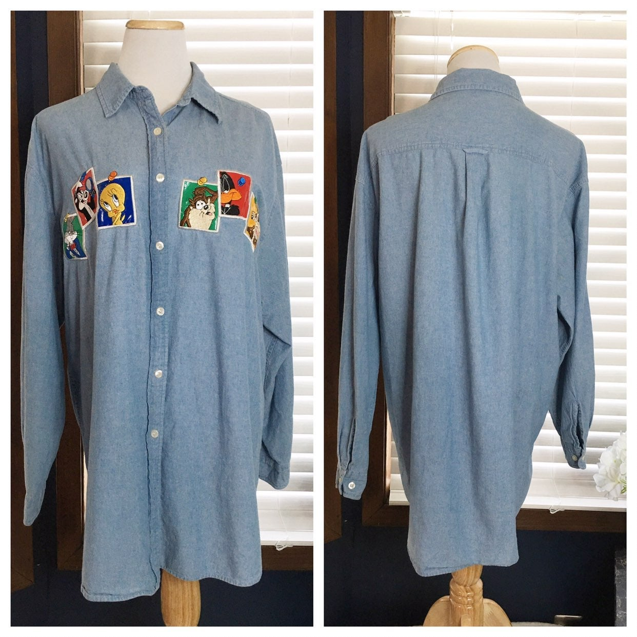 Loony Toons Vintage Denim Button Down XL