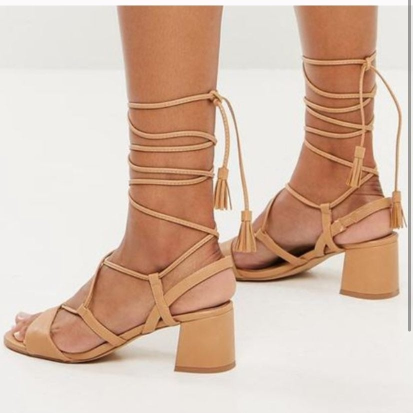 Tan Mid Block Heels size 10
