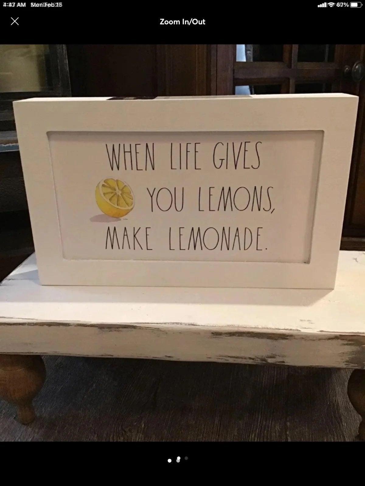Rae Dunn When Life Gives You Lemons Sign