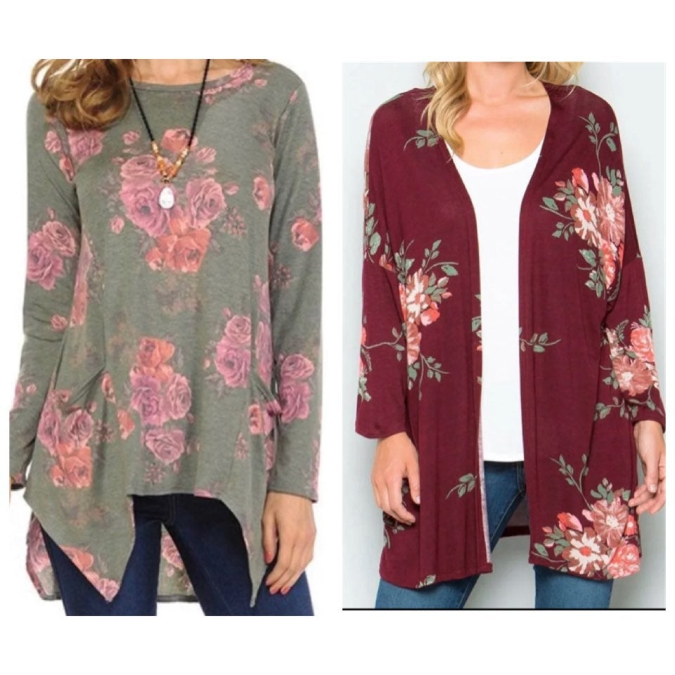$60 burgundy floral kimono M NEW